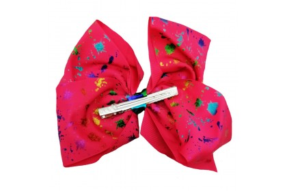 JOJO SIWA BOW WITH CLIP (PAINT SPLATTER RED)
